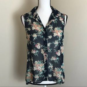 Rue21 Sleeveless Sheer Floral Top/ Open Back M